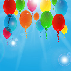 Holiday background with colorful balloons with place for your te