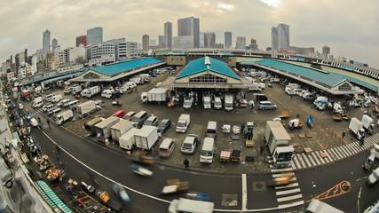 City Traffic Time Lapse Tokyo Fish Market