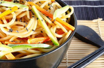 Serving of spaghetti with carrots and zucchini and soy sauce and