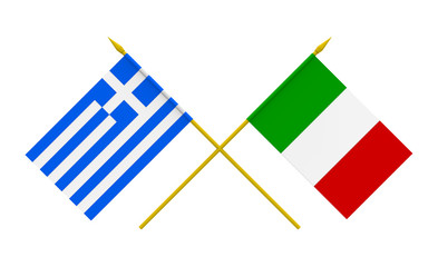Flags, Italy and Greece