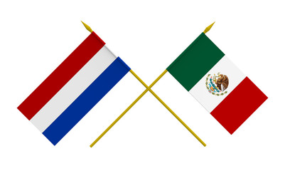 Flags, Mexico and Netherlands