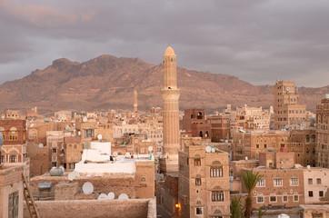 Историческая часть Саны- столицы Йемена вечером