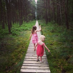 Little sisters in a dark forest