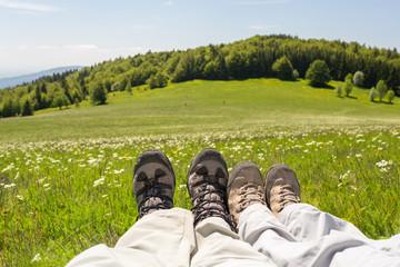 Chaussures - randonnée - en montagne