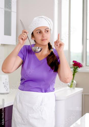Woman chef having a brainwave