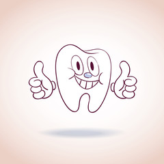 healthy tooth mascot cartoon character