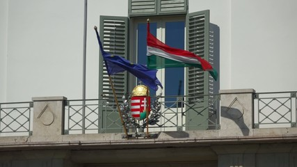 Hungarian and european flag on the Sandor Palace