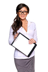 Young businesswoman holding clipboard