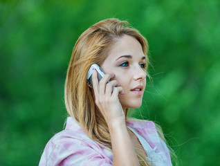 beautiful woman talking mobile phone