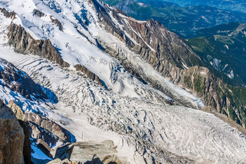Bossons Glacier from the summit of the Aiguille du Midi in the M