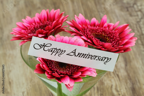 Happy Anniversary card with pink gerbera daisies