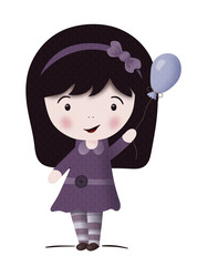 Kawaii girl with balloon-isolated