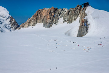 Base camp on Cosmique route Chamonix, France