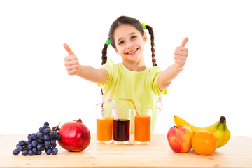 Girl with fruits, juice and thumbs up sign