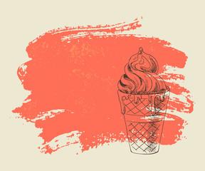 Vanilla ice cream on red grunge background.