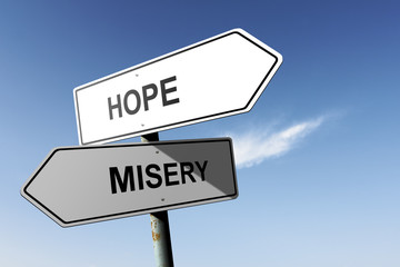 Hope and Misery directions.  Opposite traffic sign.