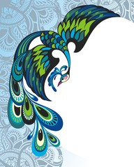 Blue decorative bird on paisley background