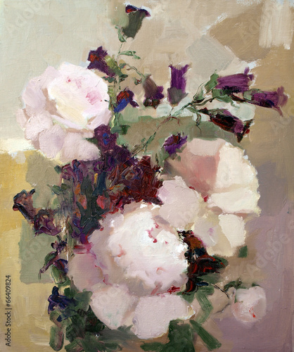 Oil painting of the beautiful flowers. © denys_kuvaiev