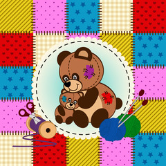 mother and baby bear - vector  illustration, eps