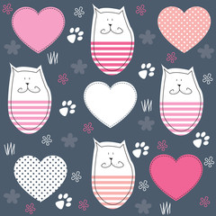 cute cat with paw print vector illustration