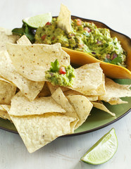 Lime Tortilla Chips and guacomole