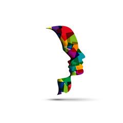 Vector Logo digital generation, head and pixel