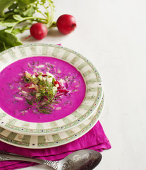 Cold Latvian soup. Vegetable cold soup with beetrots.