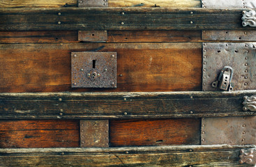Closeup old vintage chest