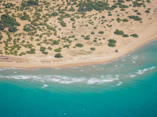 Chalikounas beach in Corfu view from the air