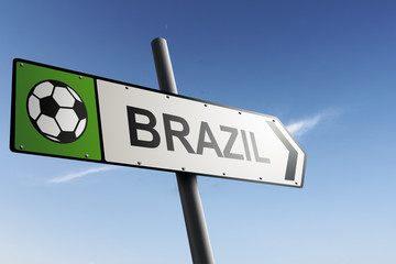 Brazil direction. Traffic sign.