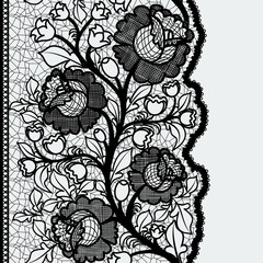 Seamless vertical lace ribbon with unusual floral pattern.