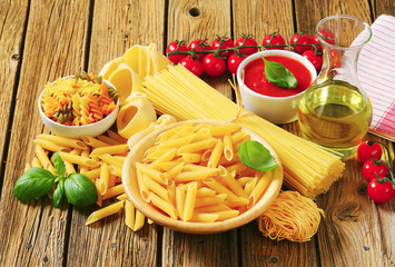 Assorted pasta and other ingredients
