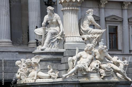 Famous Athena Fountain in Vienna, Austria