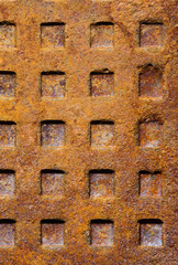 Old rusty sewer manhole texture