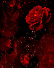 Red roses dripping crystals