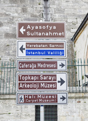 traffic signpost in istanbul