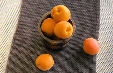Ripe apricots in a bucket