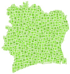 Republic of Ivory Coast in a mosaic of green squares
