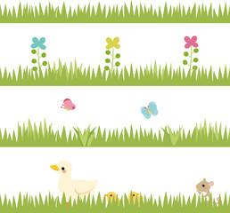 草原と小動物のフッター素材