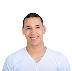 Portrait of handsome man smiling against white background