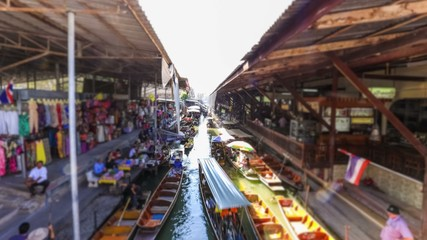 Floating Boat Market Time Lapse Thailand