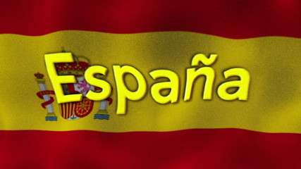 Spain Flag and Text, Textile Background