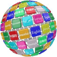 Language Tiles Globe Words Learning Foreign International Transl