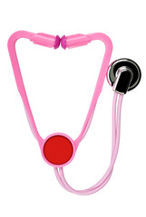 Toy stethoscope isolated on white. Clipping path included.