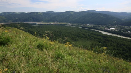 Panorama Altai Mountains from Mount Bloody Finger.