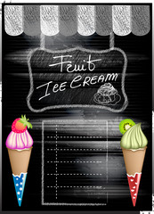 Fruit Ice Cream Blackboard