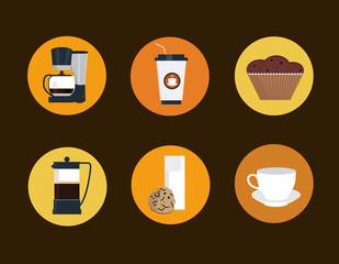 coffee icon set flat style