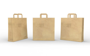 Brown blank paper bag isolated on white with clipping path
