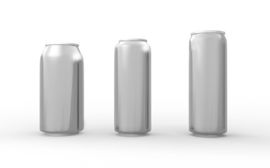 Set of aluminum cans isolated on white with clipping path