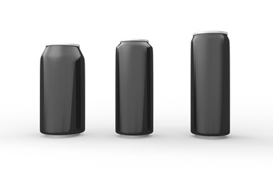 Set of black  aluminum cans isolated on white with clipping path